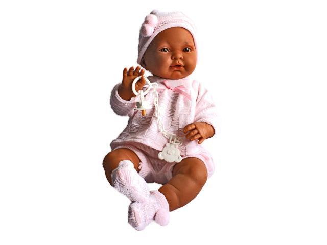 Kreol csecsemő baba rózsaszín ruhában 45 cm 1656f97934