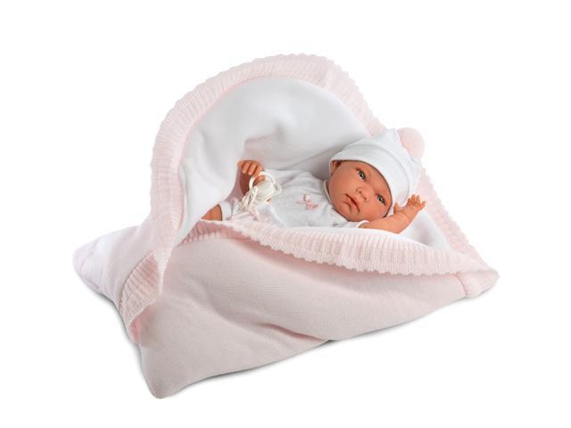 Nica újszülött baba kifordítható takaróval rózsaszín ruhában 40 cm-es -  Llorens d78b8ca915