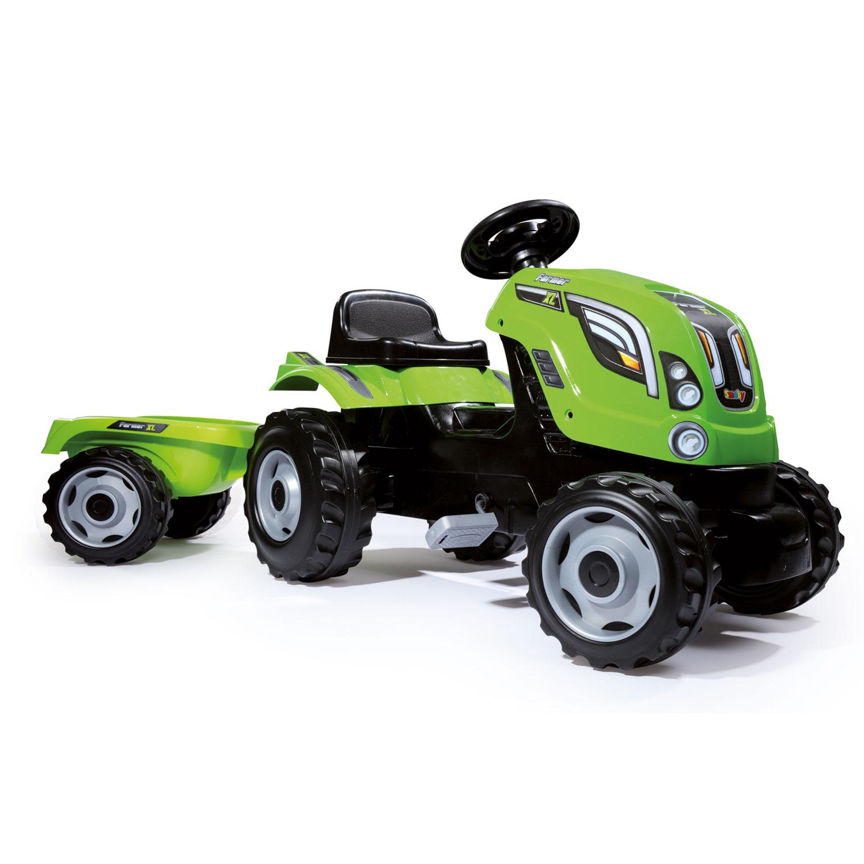 Smoby ráülős traktor utánfutóval, zöld, 142 cm