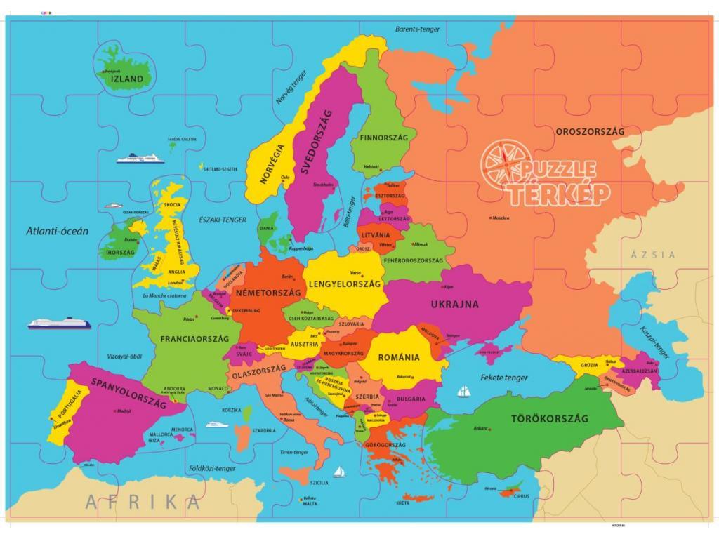 Europa Terkep Magyarul 48 Darabos Puzzle