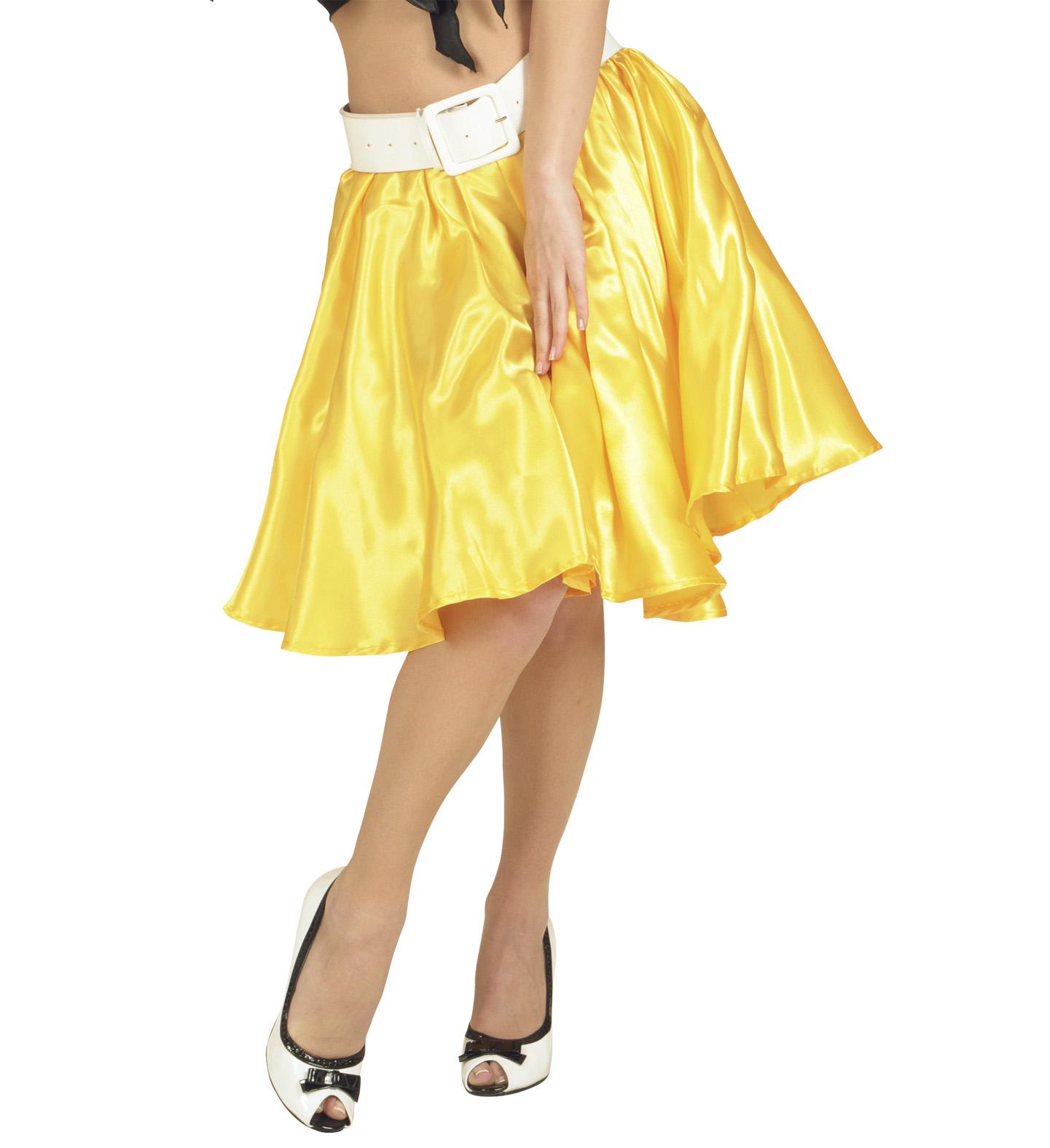 Szatén szoknya női jelmez felnőtt általános méretben sárga színben 3d6916c222