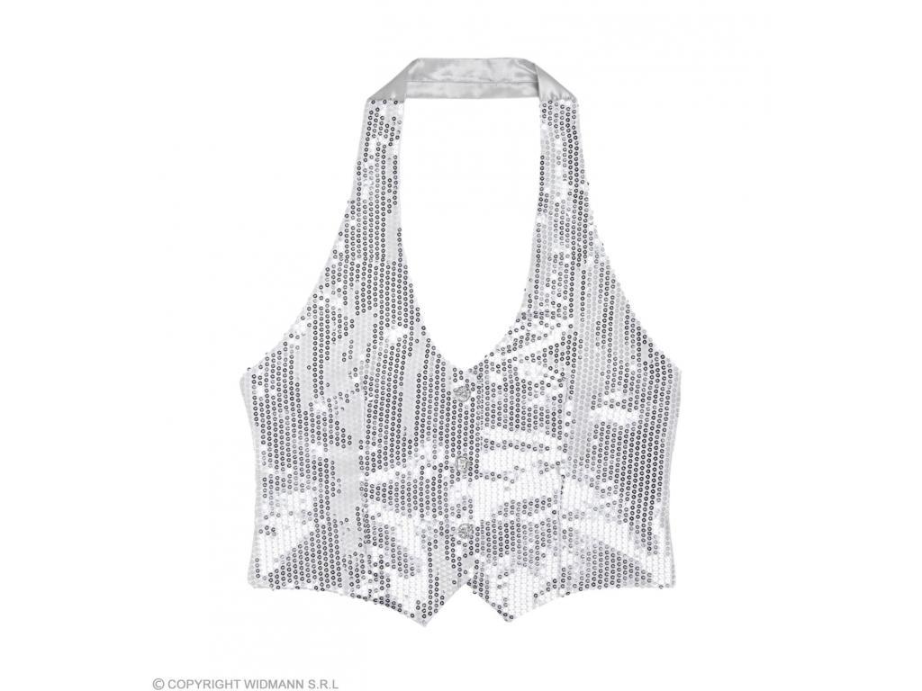 d3aa4fae97 Csillogó mellény ezüst színű női jelmez